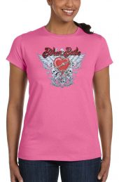 ladies biker babe heart and wings