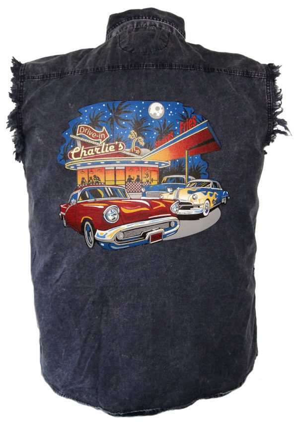mens denim old fashioned cars charlie's drive in biker cutoff shirt