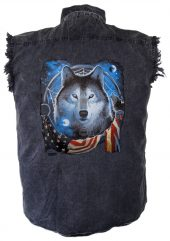 mens denim patriotic wolf and flag cutoff shirt