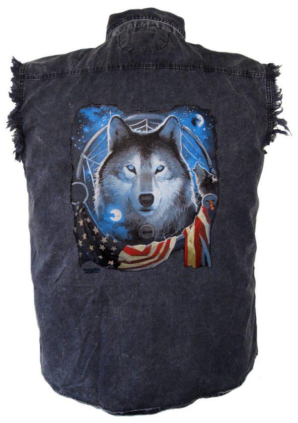 mens denim patriotic wolf and flag cutoff shirt