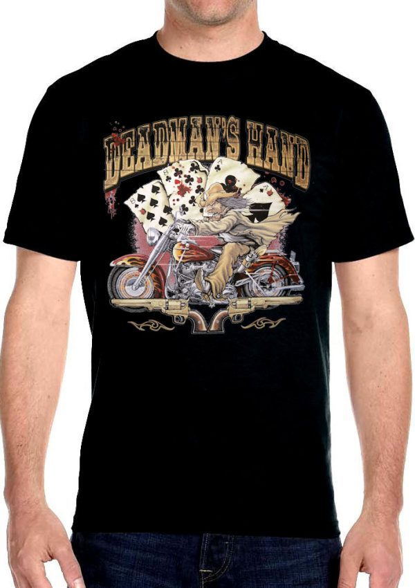 dead mans hand aces and eights biker t-shirt