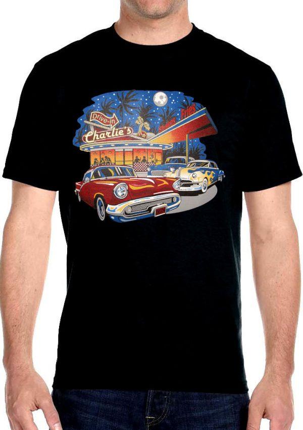 mens charlie's drive in diner biker t-shirt