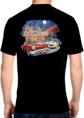mens charlie's drive in diner biker shirt with cars