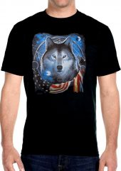 mens patriotic wolf and flag t-shirt