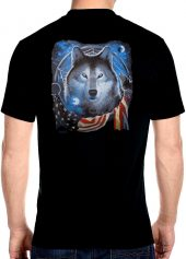 patriotic wolf and American flag biker t-shirt
