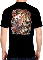 mens snake eyes hot babe with motorcycle playing cards biker t-shirt
