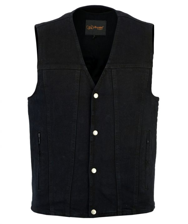 Men's black denim vest with plain sides