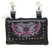 ladies leather purse pink skull
