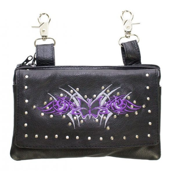 ladies leather bag with purple butterfly design