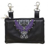 ladies leather bag with purple wings