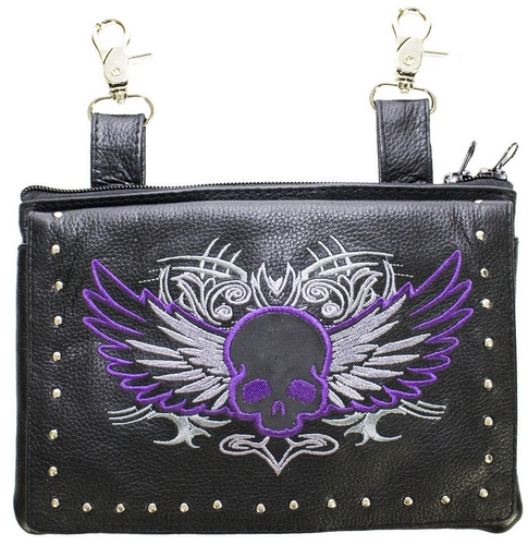 ladies leather purse with purple skull