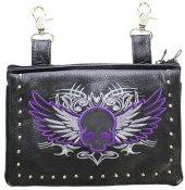 ladies leather bag with purple skull