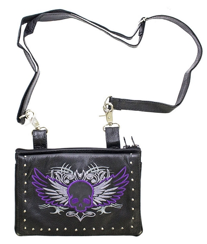ladies leather bag with purple skull and strap