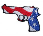 patriotic pistol facing left biker patch