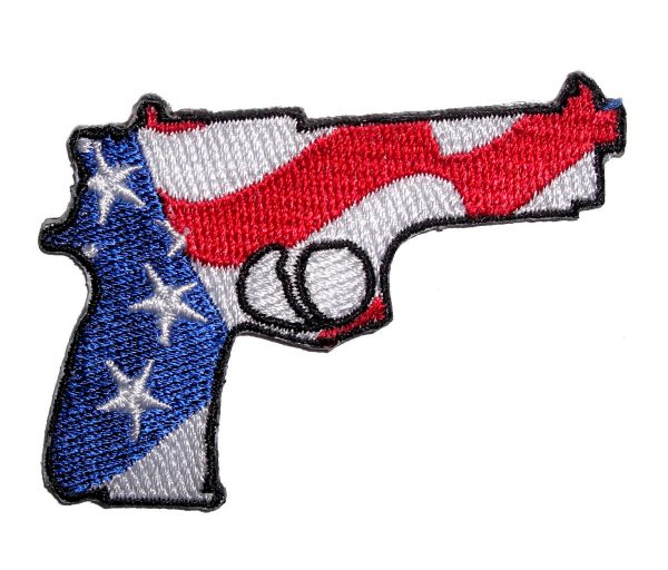patriotic pistol facing right biker patch