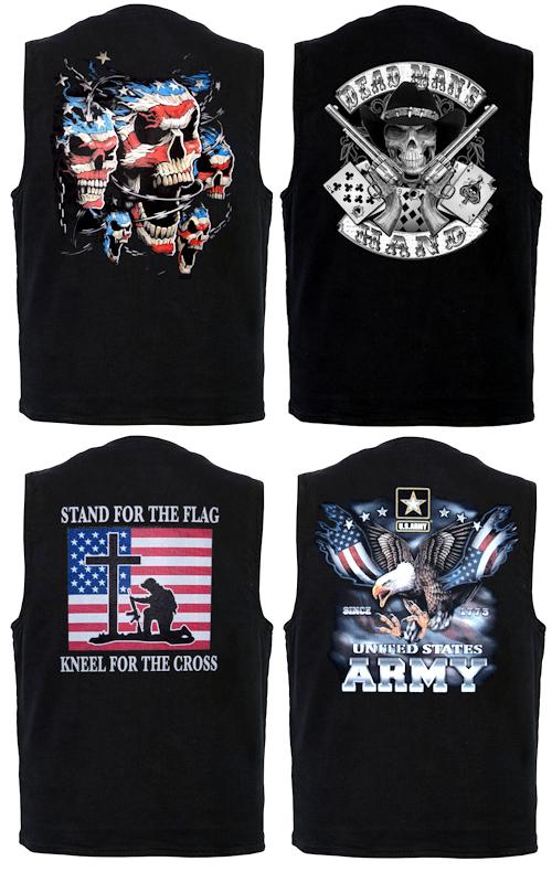 Men's black denim vest with biker designs on them