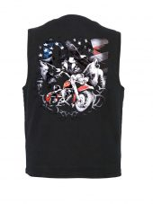 Motorcycle, wolves and eagle patriotic denim vest