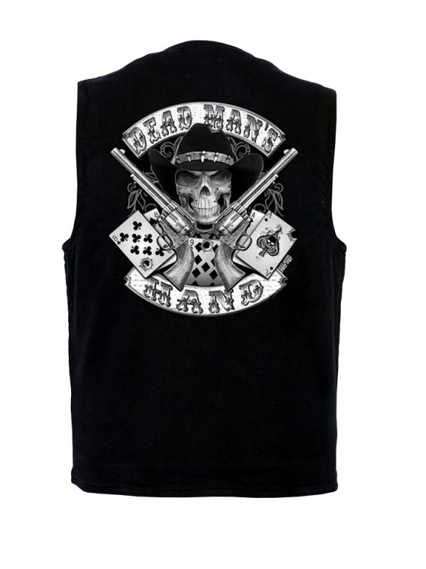Denim vest with dead mans hand skull design