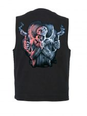 Denim vest with ghost gunslinger skull design