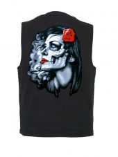 Day of the dead Goth girl with rose design on denim vest