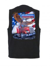 Patriotic American trucker design on denim vest