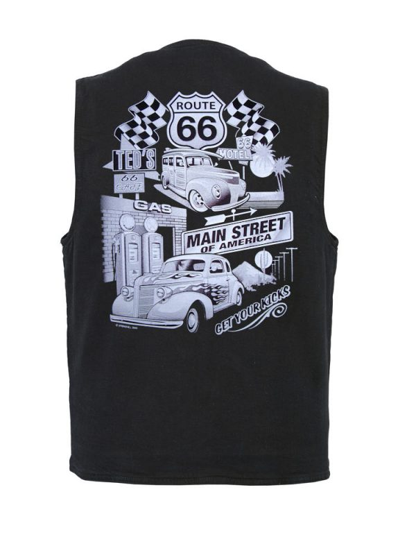 Men's denim vest with classic white route 66 design