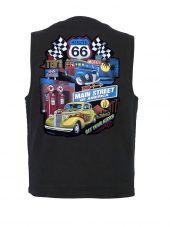 Concealed carry denim vest with route 66 design