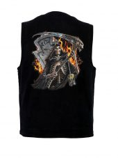 Mens denim vest with grim reaper design