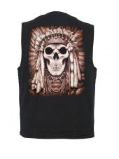 Native American Indian chief skull denim vest