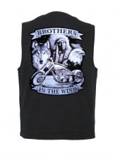Native American brothers in the wind denim vest