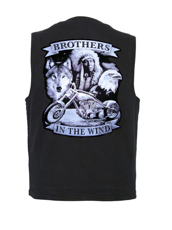 Native American brothers in the wind denim vest