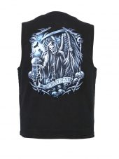 mens reaper and scythes designer denim vest