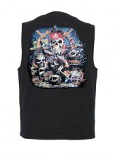 mens pirate skull designer denim vest