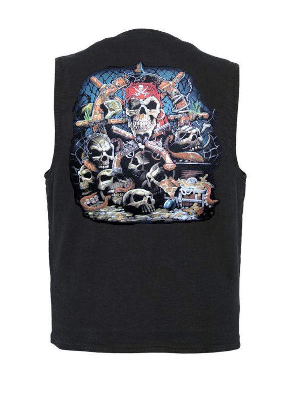 mens pirate skull designer denim vest