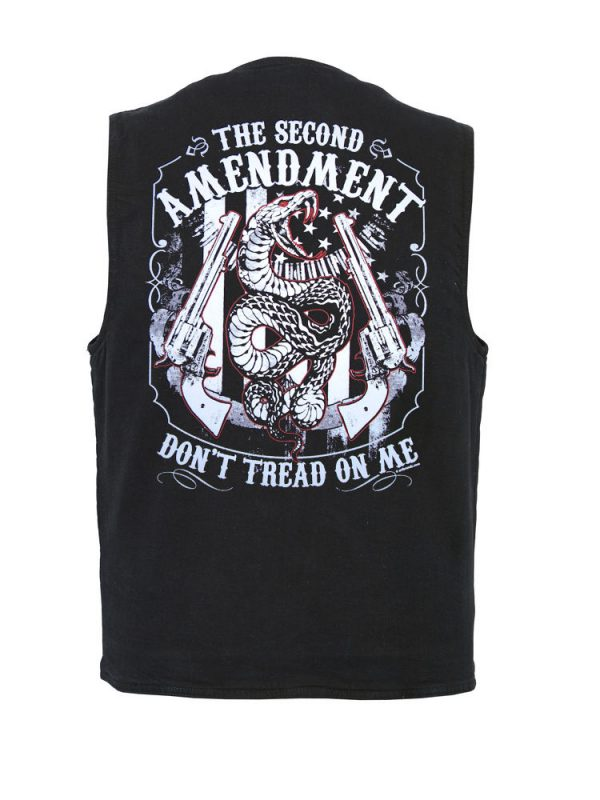 mens second amendment denim designer vest