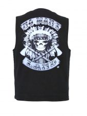 Mens Conceal Carry Denim Vest W Native American Indian Chief Headdress Patch