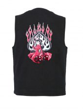 sexy devil babe designed denim vest