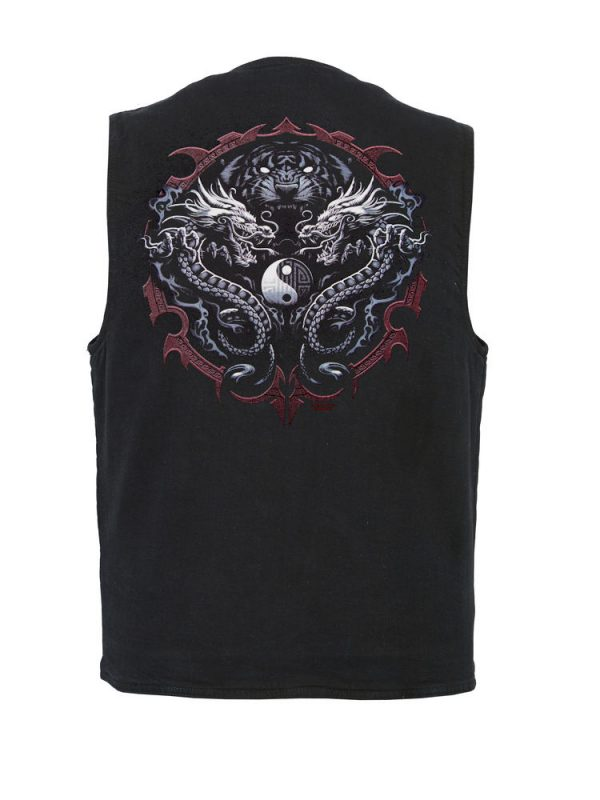 mens dual dragon designer vest
