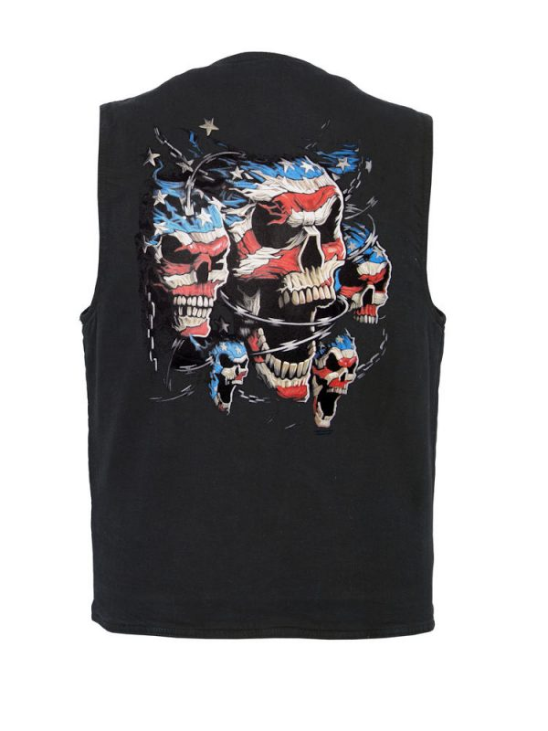 mens patriotic skulls designer vest