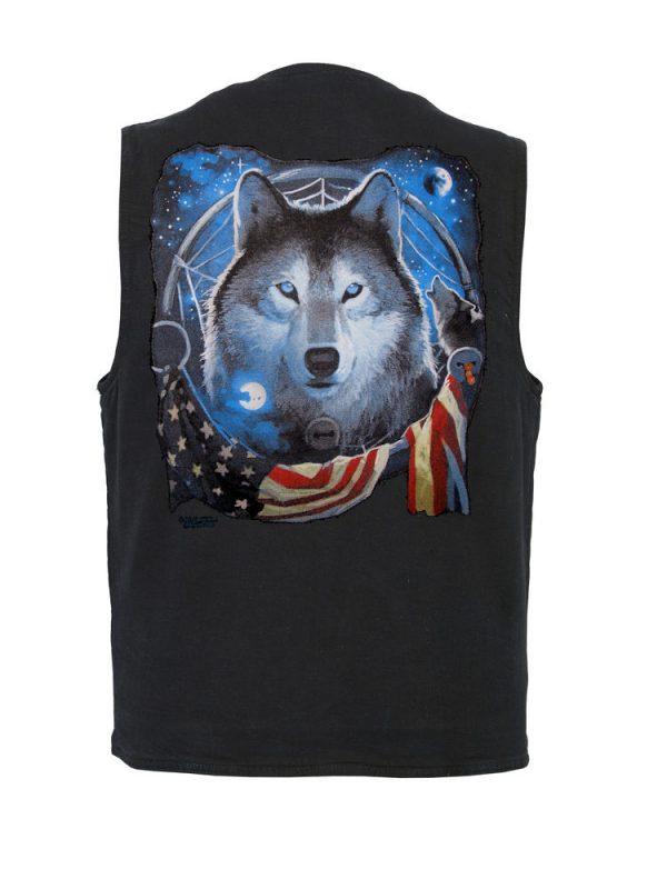 mens patriotic wolf designer vest