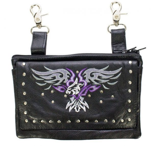 ladies leather purse with purple eagle