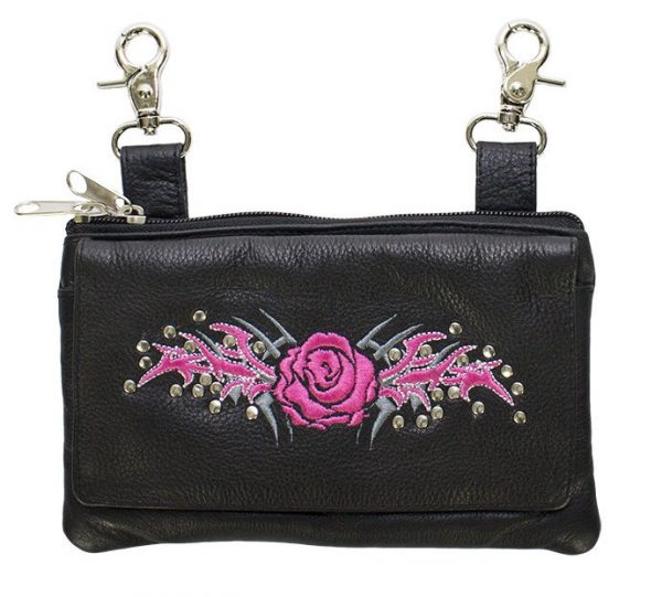 ladies leather purse with pink purse