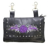 ladies purple rose leather bag