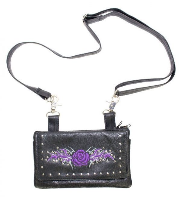ladies purple rose leather bag with strap