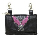 ladies leather purse with wings design