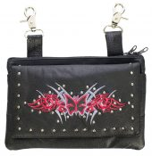 ladies leather purse with butterfly design