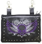 ladies leather purse purple skull