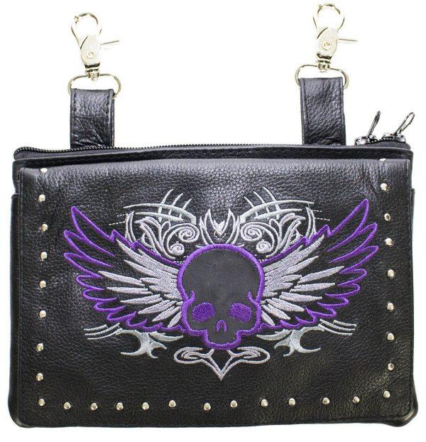 ladies leather purse purple skull
