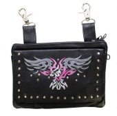 ladies pink eagle leather bag