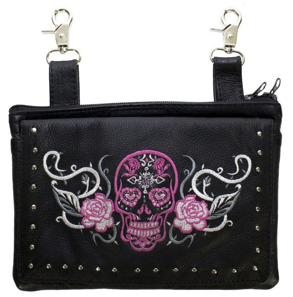 ladies leather pink sugar skull purse